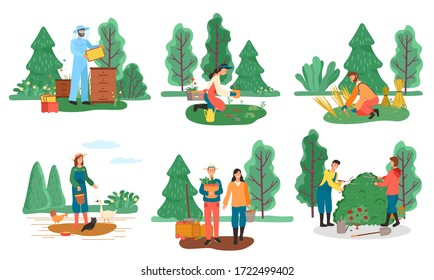 Farming and agriculture, farmers and beekeeping, planting and harvest vector. Home poultry, men and women, honey production and vegetables. Hay stacks and feeding birds, bushes cutting illustration