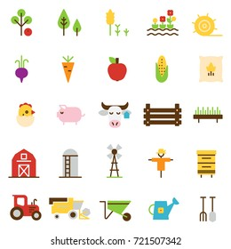 Farming and agriculture flat icons. Harvester, tractor, farm buildings, farming equipment animals and plants