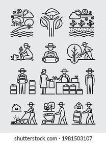 Landwirtschaftliche Landwirtschaft Garten Vektorgrafik-Symbole Set