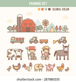 farming and agriculture infographic elements for kid including characters and objects