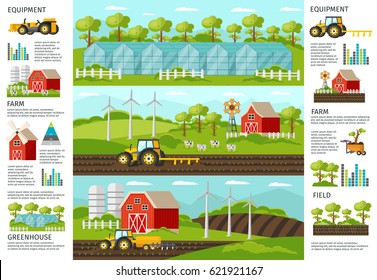 Farming and agriculture infographic horizontal banners with vehicles equipment harvesting greenhouse and agricultural elements vector illustration