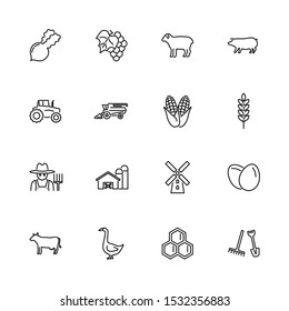 Farming, Agriculture outline icons set - Black symbol on white background. Farming, Agriculture Simple Illustration Symbol - lined simplicity Sign. Flat Vector thin line Icon - editable stroke