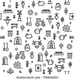 Farming and agriculture seamless pattern. For package, paper, decoration. Harvester, tractor, farm buildings, farming equipment, animals and plants