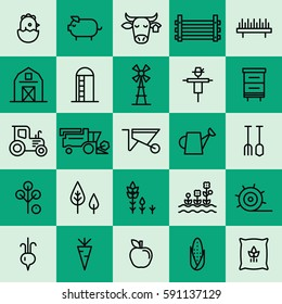 Farming and agriculture thin line icons.