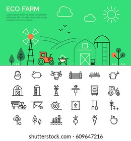 Farming and agriculture thin line icons.  Harvester, tractor, farm buildings, farming equipment, animals and plants. Web template.