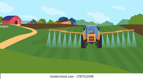 Farming agriculture vector illustration. Cartoon flat agricultural agrarian sprinkler tractor watering organic farm field, green countryside farmland landscape, water sprinkling technology background