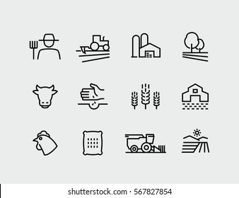 Farming and Agriculture Vector Line Icons