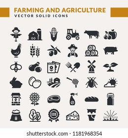 Farming and agriculture web icon set. Vector isolated farm and countryside symbols: cereal crop, fruits, vegetables, natural dairy products, fresh meal, animals, plants, tools, equipment, buildings.