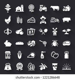 Farming and agriculture white flat icons with shadow. Farm and countryside set: fruit, vegetables, natural products, fresh meal, animals, plants, equipment. Vector symbols isolated on black background