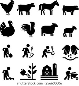 Farming, animal and other agricultural icons