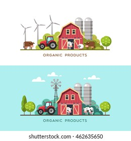 Farming Background With Barn Windmill Tractor Cows And Sheep Organic Products