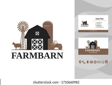 Farming barn building logo with business card design vector