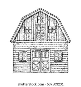 Farming barn. Farm house for agriculture equipment, sketch illustration. Vector