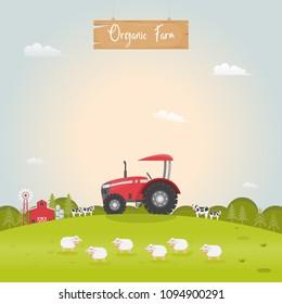 Farming with barn house and dairy farm animals. Vector illustration.