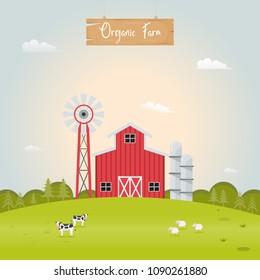 Farming with barn house and farm animals. Vector illustration.