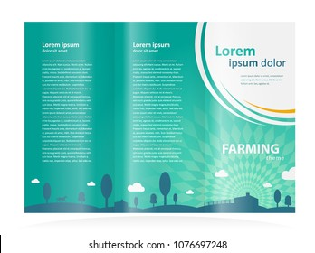 Farming Brochure design template tri-fold meadow trees clouds