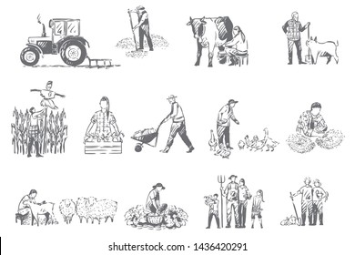 Farming business, rural economy concept sketch. Farmer lifestyle, livestock breeding, seasonal harvest collecting, food and cereals growth, farm chores, husbandry set. Isolated vector illustration