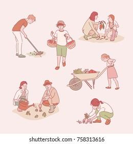 farming character hand drawn illustrations. vector doodle design