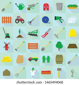 Farming equipment icons set. Flat set of farming equipment vector icons for web design