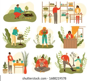 Farming and gardening harvest set of people at work on farm and garden, plants and flowers isolated on white vector illustration. Gardeners cartoon farmers on nature planting trees and grow greenery.