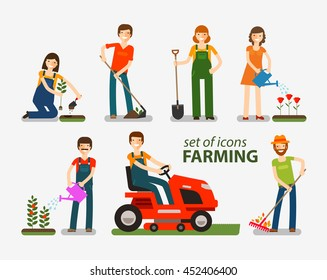 Farming and gardening set of icons. People at work on the farm. Vector illustration