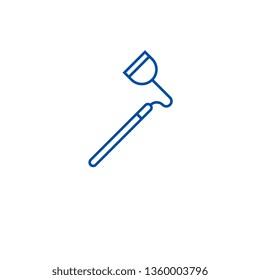 Farming hoe line icon concept. Farming hoe flat  vector symbol, sign, outline illustration.
