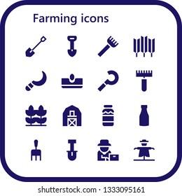 farming icon set. 16 filled farming icons.  Collection Of - Shovel, Rake, Wheat, Sickle, Sow, Barn, Milk, Farmer, Scarecrow