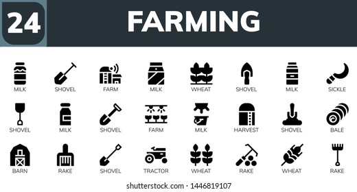 farming icon set. 24 filled farming icons.  Simple modern icons about  - Milk, Shovel, Farm, Wheat, Sickle, Harvest, Bale, Barn, Rake, Tractor
