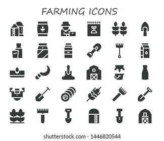 farming icon set. 30 filled farming icons.  Collection Of - Silo, Wheat, Farmer, Fertilizer, Shovel, Milk, Rake, Sow, Sickle, Barn, Field, Bale, Harvest