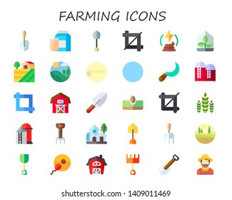 farming icon set. 30 flat farming icons.  Simple modern icons about  - shovel, milk, crop, manure, greenhouse, farm, field, village, fields, sickle, silo, barn, sow, crops, rake