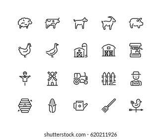 Farming icon set, outline style