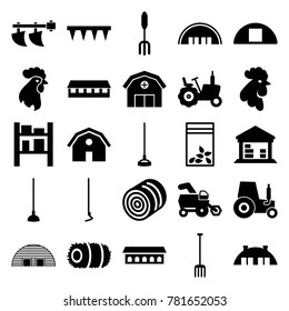 Farming icons. set of 25 editable filled farming icons such as hay, tractor, rooster, barn, pitchfork, plowing tool, hoe, seed bag