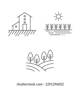 Farming Icons Set Black and White Thin Line Art Simple and Clear