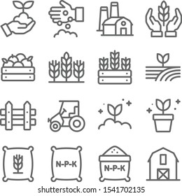 Farming icons set vector illustration. Contains such icon as agriculture, planting, fertilizer, fence and more. Expanded Stroke