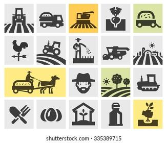 farming icons set. vector illustration