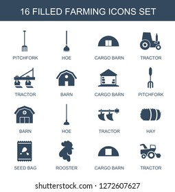 farming icons. Trendy 16 farming icons. Contain icons such as pitchfork, hoe, cargo barn, tractor, barn, hay, seed bag, rooster. farming icon for web and mobile.