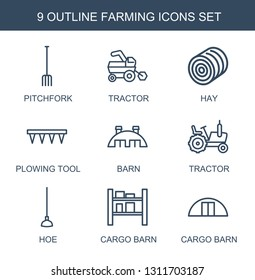 farming icons. Trendy 9 farming icons. Contain icons such as pitchfork, tractor, hay, plowing tool, barn, hoe, cargo barn. farming icon for web and mobile.