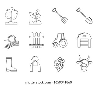 Farming Icons. Vector graphics are good for agriculture, plantations, etc.