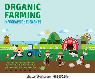 Farming Infographic. vector illustration.set with animals, equipment and other objects.