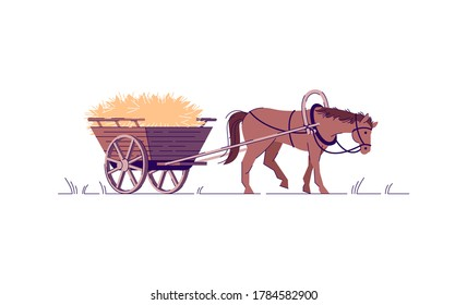 Farming labor semi flat RGB color vector illustration. Harvest in wagon. Animal in harness to work on ranch. Horse with cart full of wheat isolated cartoon character on white background