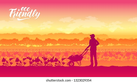 Farming life brochure card. Take care of the garden template land page wallapapers. cultivation of layout modern design