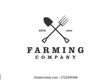 Farming logo fork and shovel silhouette icon, simple minimalis design.
