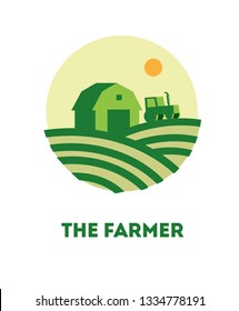 Farming logo template. Concept logo the farmer. Template with farm landscape. Label for natural farm products. Agriculture and more. Agricultural logo template design. Vector flat icon or sign farmer