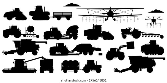 Farming machinery set. Vehicle silhouettes for field farming work. Isolated industrial tractor, harvester, combine, crop duster transport flat icon collection. Agriculture and agricultural machinery