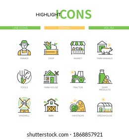 Farming - modern line design style icons set. Agriculture concept. Farmer, crop, market, farm animals, tools, house, tractor, dairy products, windmill, barn, haystacks, greenhouse