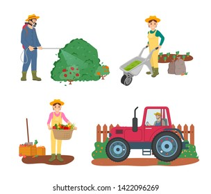 Farming people vector, man driving tractor working on land, woman holding basket filled with fruits and vegetables, male spraying bushes with liquid
