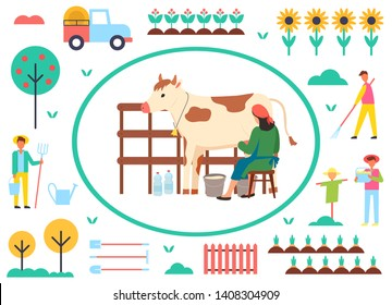 Farming people vector, woman with cow and bucket with organic liquid, milkmaid and scarecrow, trees with ripe fruits, sunflower plantation, tractor