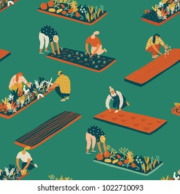 Farming and rardening seamless pattern in vector. Farmer gardener cartoon people growing vegetables and flowers on the farm illustration.