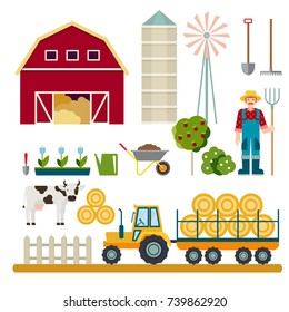 Farming set. Farmer with a pitchfork, tractor with trailer, hay, cow. Agriculture and Farming. Vector illustration.