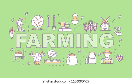 Farming word concepts banner. Agriculture. Agricultural sector. Isolated lettering typography idea with linear icons. Grain, livestock, poultry farming. Vector outline illustration